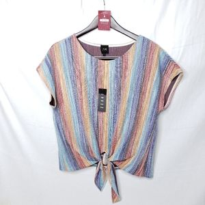 Anthropologie W5 Stripe Front Tie Top Large